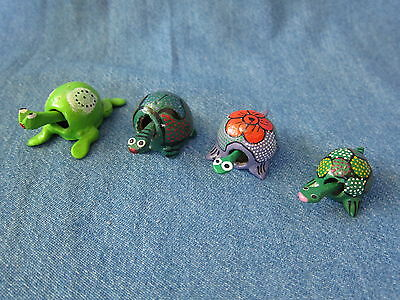 Lot of 4 Bobble head turtles, Loose neck miniature Hand painted small Turtle