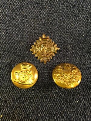 Antique / Vintage British military buttons Lot Of 3