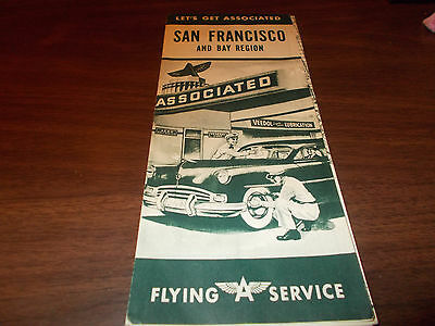 1940s  Flying A San Francisco and Bay Region Vintage Road Map / Nice Cover Art