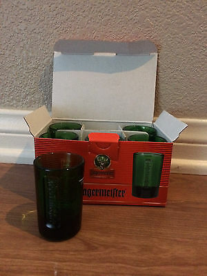 New Jagermeister Green Glass One ounce Shot Cup 6 Pack Free Fast Shipping