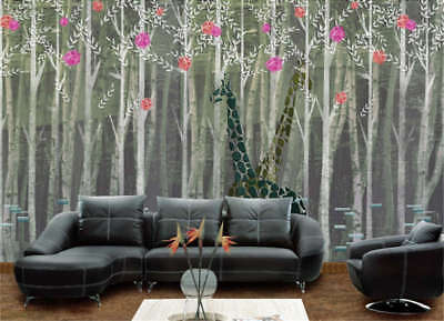 Two Giraffes In Forest Full Wall Mural Photo Wallpaper Print 3D Decor Kids Home