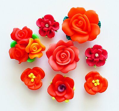 10 pcs Mixed Red Clay Flowers Cute Flat Back Resin Decoden Cabochons