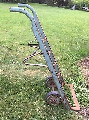 """Vintage Industrial Wood & Iron Hand Truck-Dolly-Large-Heavy-55""""-All Original"""