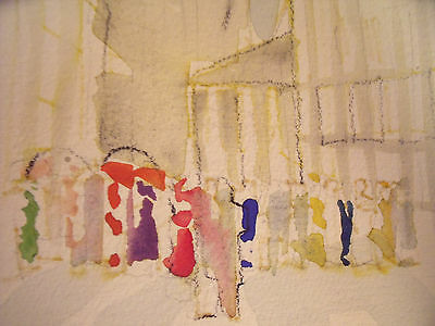 """Richard Ahr 1929-2012 New York City """"waiting In Line In Our Finery"""" Watercolor"""