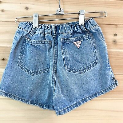Vintage 90s Guess Med Wash Jean Shorts High Waisted Sz 6 Hip Hop Trending B22