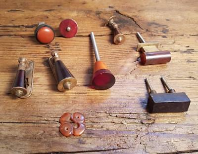 9 assorted art deco bakelite plastic Pull handles knobs lock (s12311)