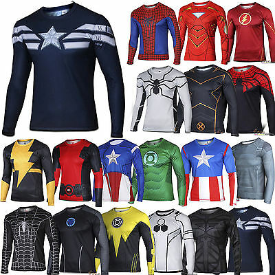 Men T Shirt Superhero Marvel Compression Under Skin Tight Sport Top Cycling
