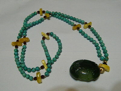 Vintage Chinese Hand-Carved He Tian Jade Pendant With Turquoise Bead Necklace
