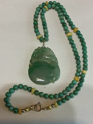 Antique Chinese Hand-Carved Burmese Jade Pendant With Turquoise Necklace