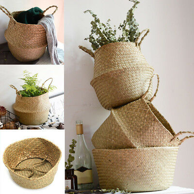 Wicker Belly Basket Storage Plant Pot Foldable Nursery Laundry Bag Room Decor