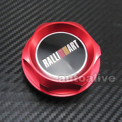 JDM RED Style Billet Ralliart Engine Oil Fuel Filler Cap Cover for Mitsubishi