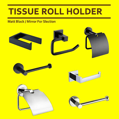 Bath Matt Black Round Square Toilet Tissue Paper Roll Holder Rack Bracket Chrome