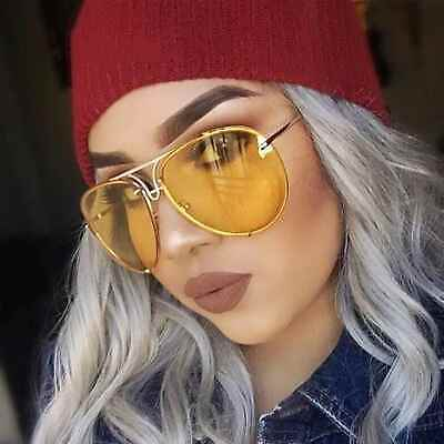 Oversize Designer Aviator Sunglasses Metal Frame Color Lens Men Women Fashion
