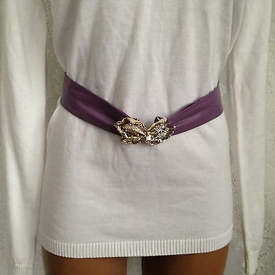 Purple Genuine Leather Fashion Waist Belt With Gold Metal Leaf Buckle Size S