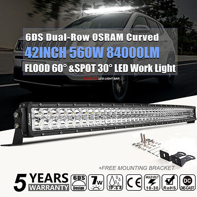 OSRAM 560W 42in LED WORK LIGHT BAR Curved COMBO Offroad Truck SUV For Jeep Ford