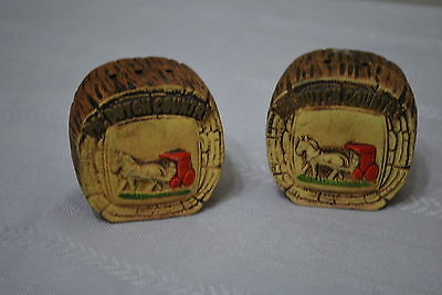 PA Dutch Country Wood Slices (Ceramic) Horse & Buggy Salt & Pepper Shakers