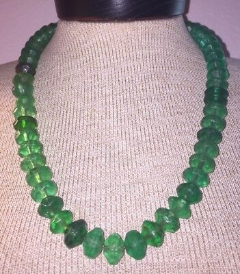 Antique Ancient Large & Heavy Green Uranium Glass Bead Necklace REDUCED 16mm Big