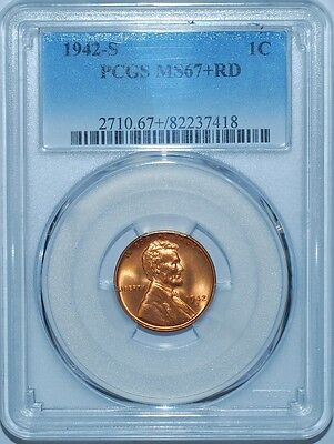 1942 S PCGS MS67+RD Red Lincoln Cent