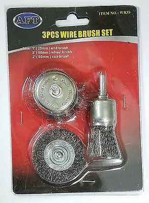 "3pc Wire Brush Set 1"" End 2"" Wheel Cup Brushes Polishing Remove Rust Dirt Clean"