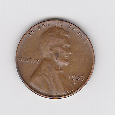 1953D Usa 'lincoln Wheat' One 1 Penny/cent