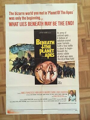 Beneath The Planet Of The Apes 1970 Original 1 Sheet Poster (good Condition)