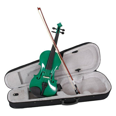 New 4/4 Full Size Green Acoustic Violin Fiddle + Case+ Bow + Rosin