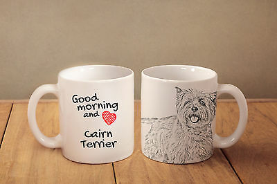 "Cairn Terrier - ceramic cup, mug ""Good morning and love"", USA"
