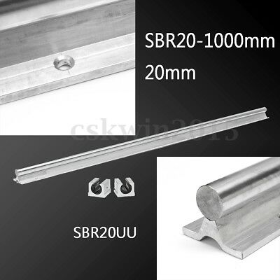 SBR20-1000mm 20mm Rail +2 SBR20UU Slide Block CNC Aluminum Linear Bearing Guide