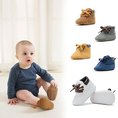 Newborn Baby Boys PU Leather Soft Sole Crib Shoes Warm Boots Anti-slip Sneakers