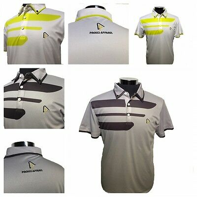 Proud Apparel Designer High Performance Golf Polo Shirts in White and Grey