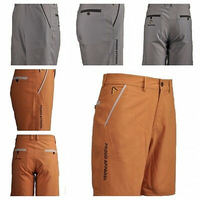 Proud Apparel Designer High Performance  Golf Shorts in Grey and Tan Colours