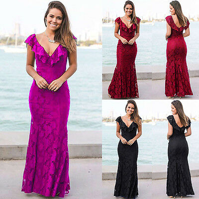 Women Lace Wedding Bridesmaid Long Evening Formal Party Ball Gown Cocktail Dress