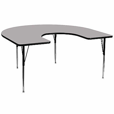 60''W x 66''L Horseshoe Shaped Activity Table Grey Thermal Fused Laminate Top
