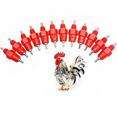 10PCS Chicken Duck Hen Screw In Poultry Water Nipple Drinker Feeder 360 Degree