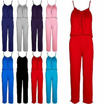 Kids Girls Cami Strap Frill Balloon Puffball Toga Wide Palazzo Playsuit Jumpsuit