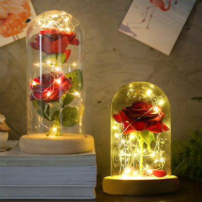 Beauty and the Beast Enchanted Rose Fairy Tale Belle Glass Decor Gift Red Led AU