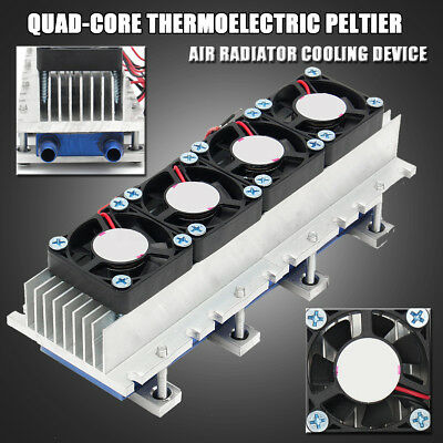 Quad-core 4xTEC1-12706 Thermoelectric Peltier Air Refrigeration Radiator Cooling
