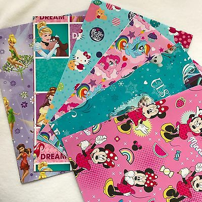 Set of 3 Girl wrapping paper 495x700mm Licensed Wrapping paper birthday Gift new