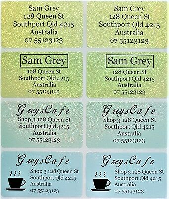 8 Colour Glitter Personalised Name / Address Label Stickers- XL (45*25mm) Dishwa