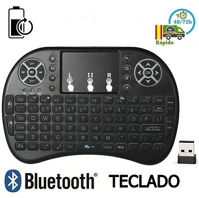 Mini Teclado Inalambrico con Touchpad NO Bluetooth para Smart TV PC Tablet Negro