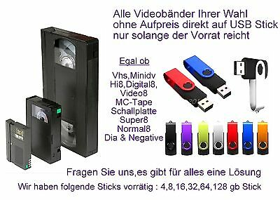 30 Bänder Hi8,Video8, Minidv VHS-C digitalisieren im MP4 Format auf  Stick inkl.