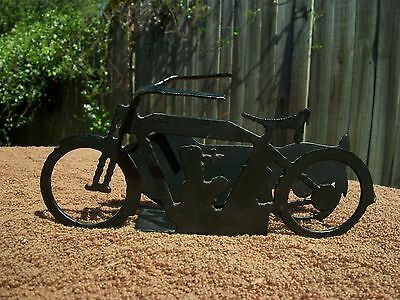 Black Metal Art Classic Motorcycle Business Card Holder