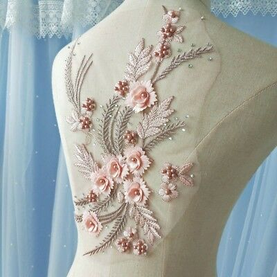 3D Beaded Lace Applique Sewing Bridal Wedding Trim Motif Dress Embroidery Patch