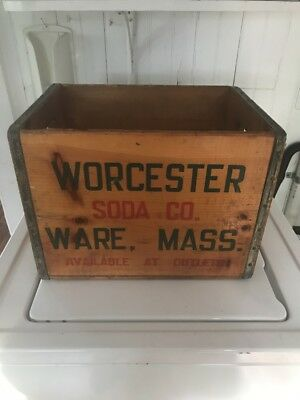 Rare ANTIQUE WORCESTER SODA WARE MASS MA WOOD BOTTLE ADVERTISING BOX Crate Vtg
