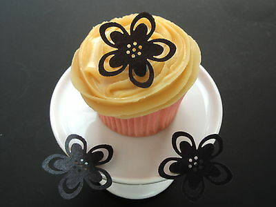 24 *Pre-Cut* Large Black Flowers Edible Cup Cake Rice Wafer Paper Toppers