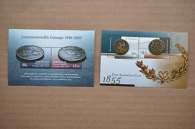 2 Mint Unhinged Australian Coinage Mini Sheets Of Stamps