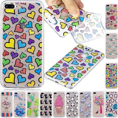 Cute Pattern Rubber Silicone Clear Soft TPU Back Cover Case For Samsung Huawei