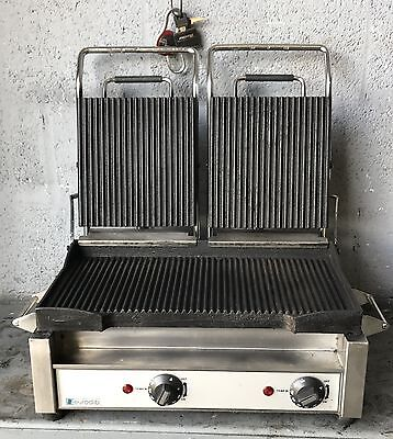 """Eurodib - 19 """" Commercial Double Panini or Sandwich Grill with Grooved Plates"""