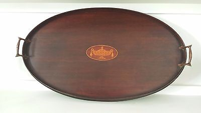 Antique Edwardian Mahogany Oval Tray with Satinwood Inlay and Brass Handles