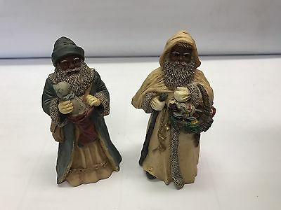All Gods Children by Miss Martha Set of 2 BLACK SANTA CLAUS CHRISTMAS LIST